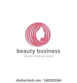 female profile side view face for beauty salon hair style vector logo design template