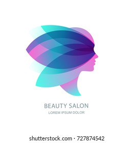 Female profile silhouette in abstract butterfly wings. Vector logo, emblem, label design. Womens face in pink flower leaves. Concept for beauty salon, makeup cosmetic, cosmetology procedures and spa.