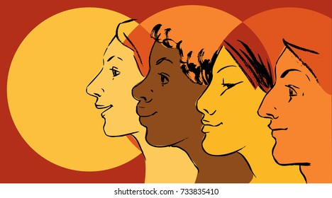 Female profiles of different ethnicity as a symbol for women empowerment movement, EPS 8 vector illustration