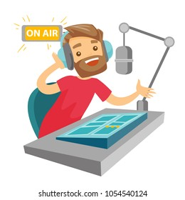 Female radio dj working in front of microphone, computer and mixing console on radio. Caucasian female radio dj in headset working on a radio station. Vector cartoon illustration. Square layout.