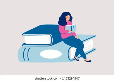 Female reader sits on pile of giant books and reads. Cartoon vector illustration with student or literature fan, professional career establishment basics.