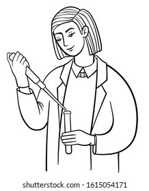 Female researcher works in laboratory. Scientist in white coat at work, conducts an experiment: holds a test tube and filling it with liquid. Vector outline illustration drawings on a white background
