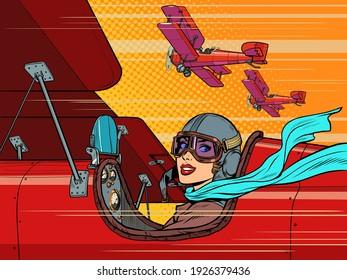female retro pilot. aviation and piloting. Pop art retro vector illustration vintage kitsch 50s 60s style