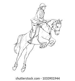 Female rider - jumping horse outline black and white