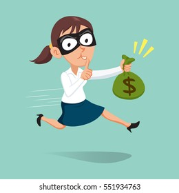 Female robber carrying a sack of money with finger on lips asking for silence, vector illustration cartoon