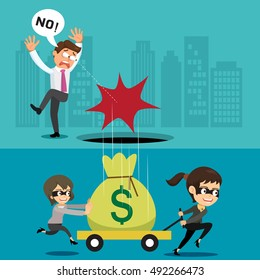 Female robber stealing a sack of money businessman, vector illustration cartoon