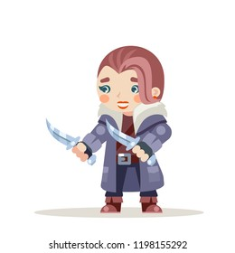 Female rogue woman outlaw girl assassin thief burglar fantasy medieval action RPG game character layered animation ready character vector illustration