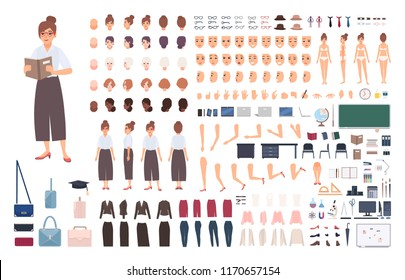Female school teacher creation kit or DIY set. Bundle of woman's body elements, postures, gestures, clothes isolated on white background. Front, side and back views. Flat cartoon vector illustration.