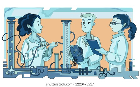 Female science professor explaining experiment to students in laboratory. Contemporary science education. Hand drawn vector Illustration.