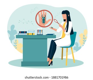 Female scientist examining bug on her palm with magnifier. Concept of entomology, catching insects, gathering closeup data. Biology Research work, molecular science. Flat cartoon vector illustration