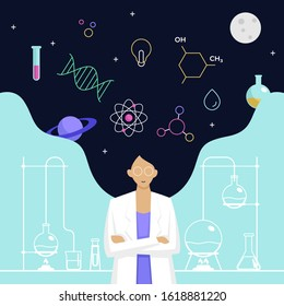 Female scientist head with long hair thinking about complex science knowledge vector illustration. International Day of Women and Girls in Science poster background. - Shutterstock ID 1618881220