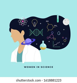 Female scientist head with long hair thinking about complex science knowledge vector illustration. International Day of Women and Girls in Science poster background.