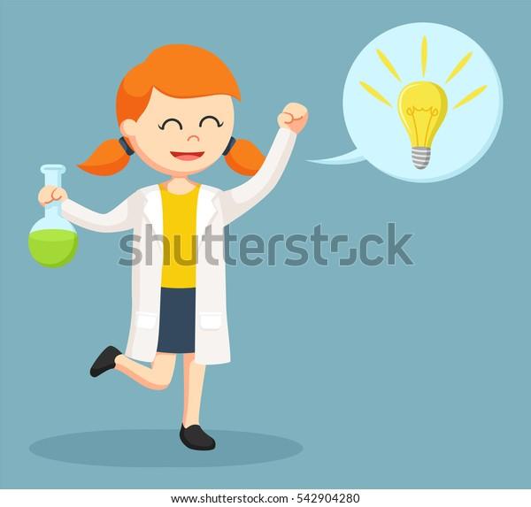 female scientist with idea callout