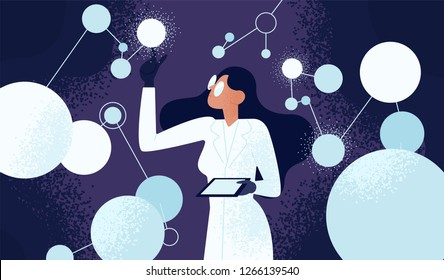 scientific images stock photos vectors shutterstock https www shutterstock com image vector female scientist lab coat checking artificial 1266139540