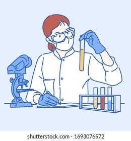 Female scientist researcher conducting an experiment in labora. Hand drawn in thin line style, vector illustrations.