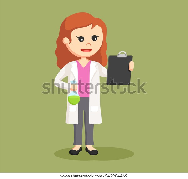 female scientist with test tube and board