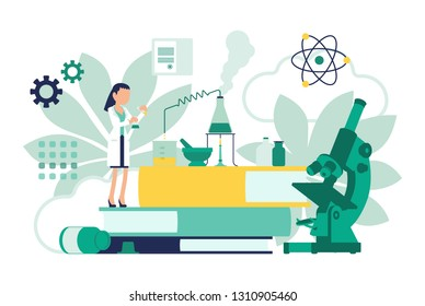Female scientist working with flasks. Woman in white coat, scientific investigator doing research in physical, natural sciences. Education and science concept. Vector illustration, faceless characters