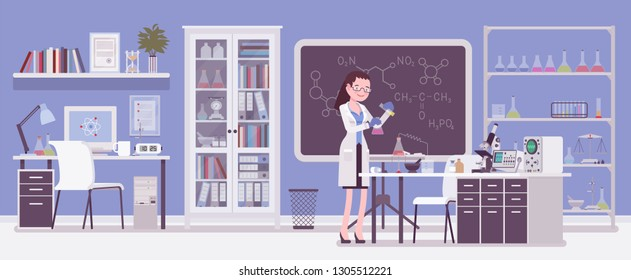 Female scientist working in laboratory. Young woman in white coat, scientific investigator does research in physical natural sciences. Vector flat style cartoon illustration isolated, white background