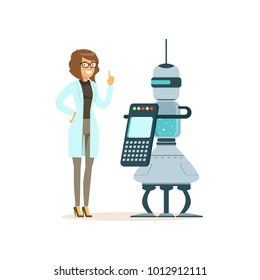 Female scientist working with robot in a modern laboratory, artificial intelligence concept vector illustration