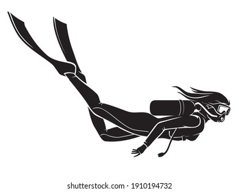 Female Scuba Dive, Side View Silhouette