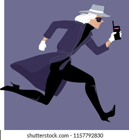Female secret agent running with a walkie-talkie, EPS 8 vector illustration