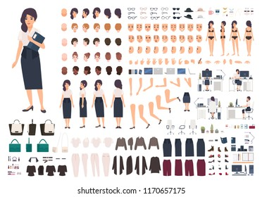 Female secretary or office assistant animation kit. Bundle of woman's body parts, gestures, postures, clothes isolated on white background. Front, side and back views. Cartoon vector illustration.