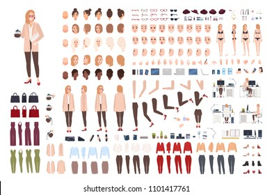 Female secretary or office assistant constructor or creation kit. Bundle of pretty cartoon character body parts, facial expressions, poses, clothes isolated on white background. Vector illustration