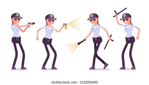 Female security guard. Uniformed officer, protective agent with electroshock, flash light. Public and private city safety concept. Vector flat style cartoon illustration, isolated on white background