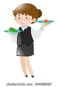 Female server serving food illustration