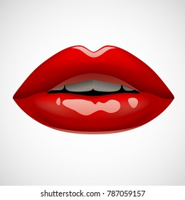f28789f0 Female sexy red lips isolated on white. Vivid open mouth of woman. Vector  illustration