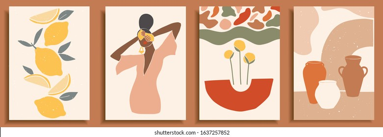 Female shape / silhouette on retro summer background. Fashion woman portrait in pastel colors. Collection of contemporary art posters. Abstract paper cut elements, lemons, pottery, abstract shapes.
