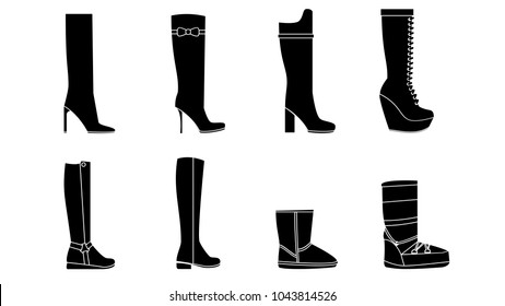 Female Shoes and boots silhouettes set