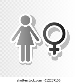 Female sign illustration. Vector. New year blackish icon on transparent background with transition.