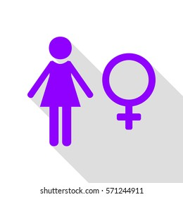 Female sign illustration. Violet icon with flat style shadow path.