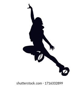 Female silhouette doing straddle jump or lounge in kangoo shoes. Girl dancing in bounce shoes during high intensity interval training (HIIT). Cardio fitness and weight loss. Gaining good shape.