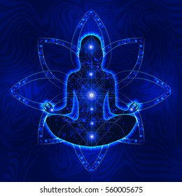 female silhouette with elements of sacred geometry and space in which meditates in the lotus position