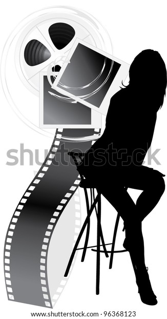 female-silhouette-film-objects-isolated-