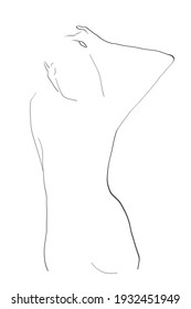 Female silhouette, naked women's body, back. Drawing in minimalist style for  elegant design on the theme of beauty, health, care. Vector