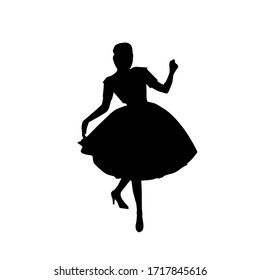 Female silhouette on a white background. Girl in retro style. Fashion and style of the 20's. Vector illustration.