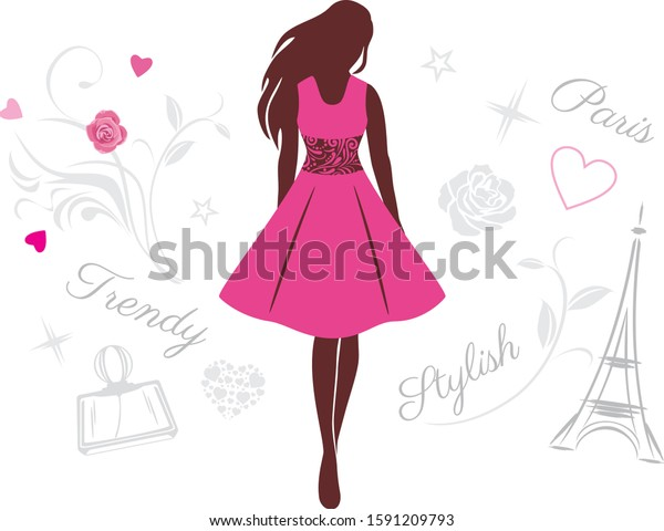 female-silhouette-pink-dress-vector-600w