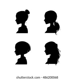 Female silhouette in profile on white background, cartoon vector illustration
