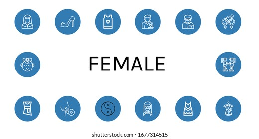female simple icons set. Contains such icons as Nun, High heels, Tank top, Waitress, Office worker, Bisexual, Blouse, Breast implant, Ying yang, can be used for web, mobile and logo