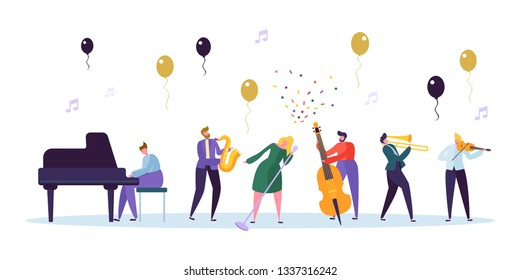 Female Singer and Jazz Band Concert. Musician Character with Musical Instrument Contrabass, Saxophone, Piano, Violin Trumpet. Fun Celebration Show Concept. Flat Cartoon Vector Illustration
