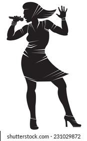 Female singer. Vector silhouette, isolated on white