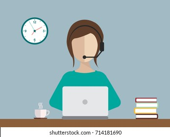 Female sitting behind a computer with headset - Interpreter icon and background - vector illustration