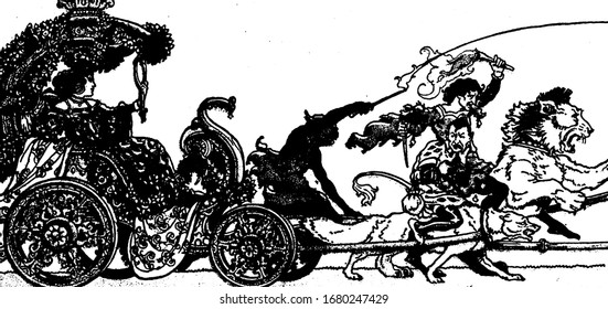 A female sitting in chariot driven by an animal and looking into mirror, a man riding on the lion and holding fire stick and sword in hands, vintage line drawing or engraving illustration
