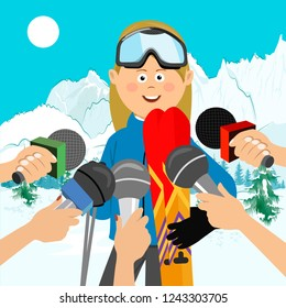 Female skier interviewed at a press conference after competition