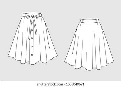 Female skirt vector template isolated on a grey background. Front and back view. Outline fashion technical sketch of clothes model.