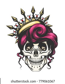 Female skull with a crown and long hair. Queen of death drawn in tattoo style. Vector illustration.