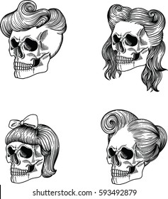 female skulls with different hairstyles. Layered in vector hand made, hand drawing style.